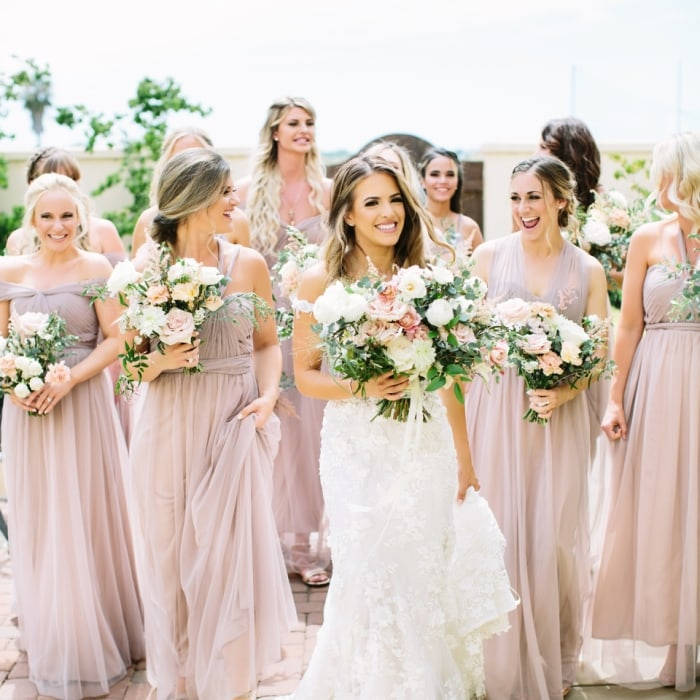 Blush bridesmaid dresses for 99 dollars