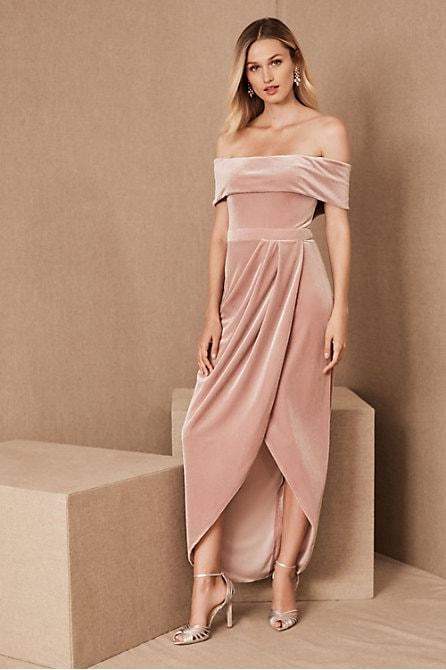 Blush velvet off the shoulder dress for bridesmaids
