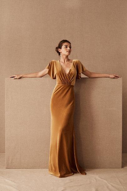 Marigold velvet bridesmaid dresses