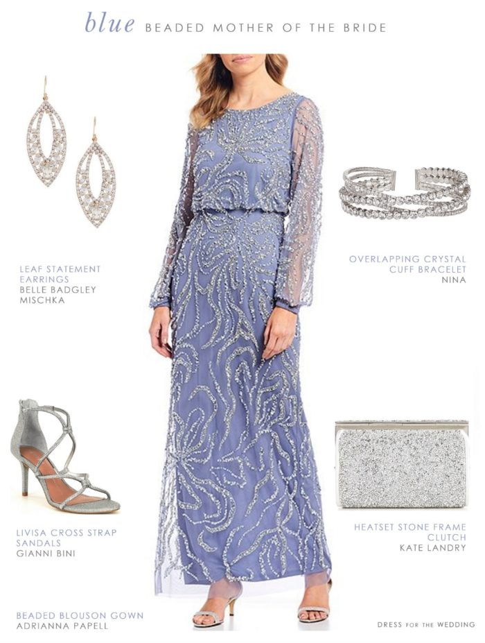 Pale blue Adrianna Papell dress with long sleeves