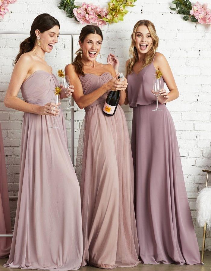 Affordable pink bridesmaid dresses