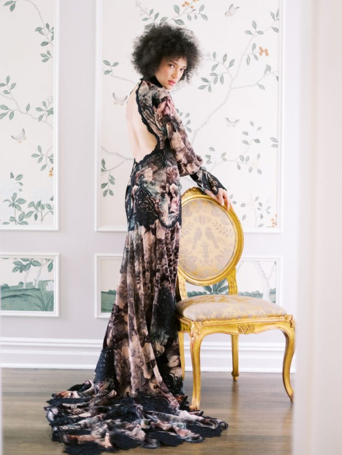 Black floral bridal gown with open back