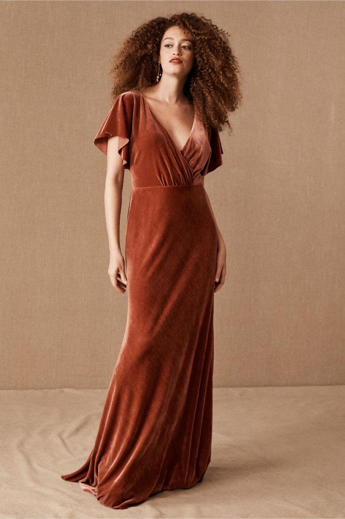 English rose velvet Jenny Yoo bridesmaid dress
