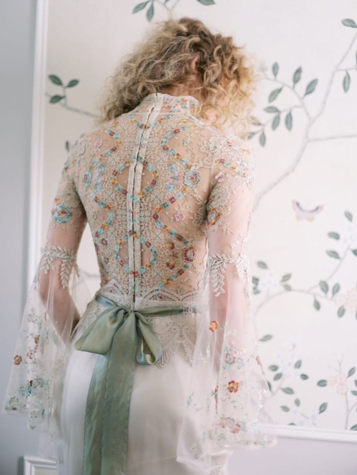 Multi colored embriodered wedding dress