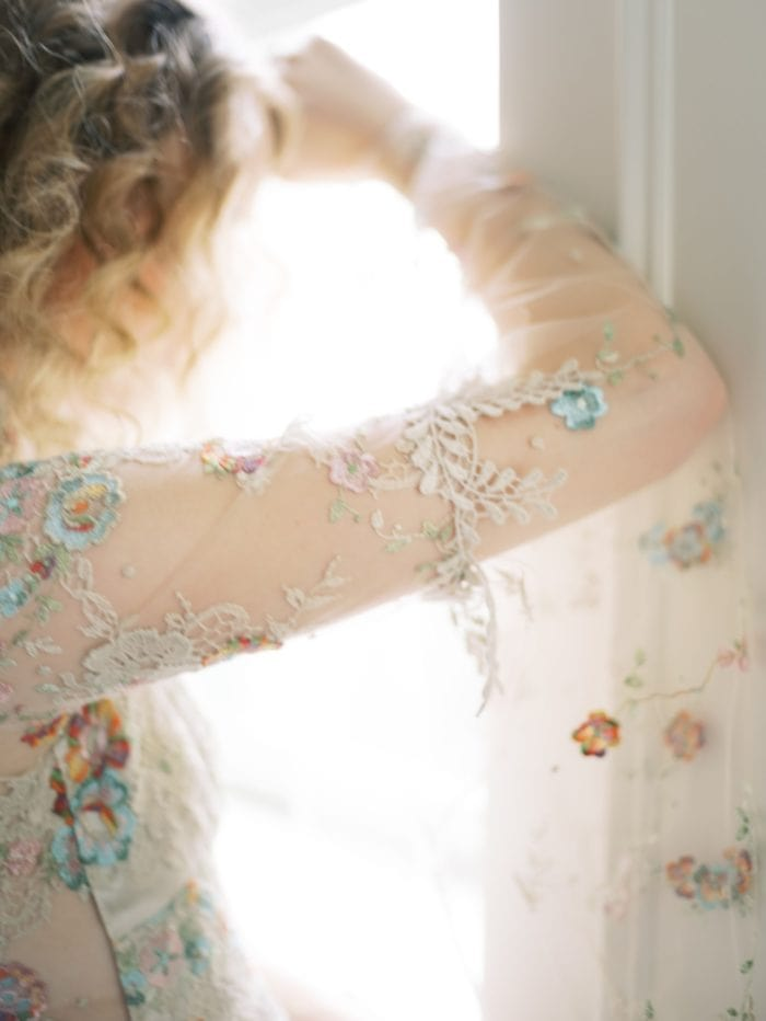 Wedding dress with colorful embroidered details
