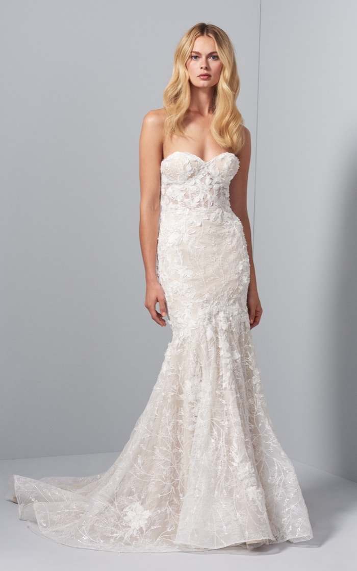 Evie lace strapless bridal gown