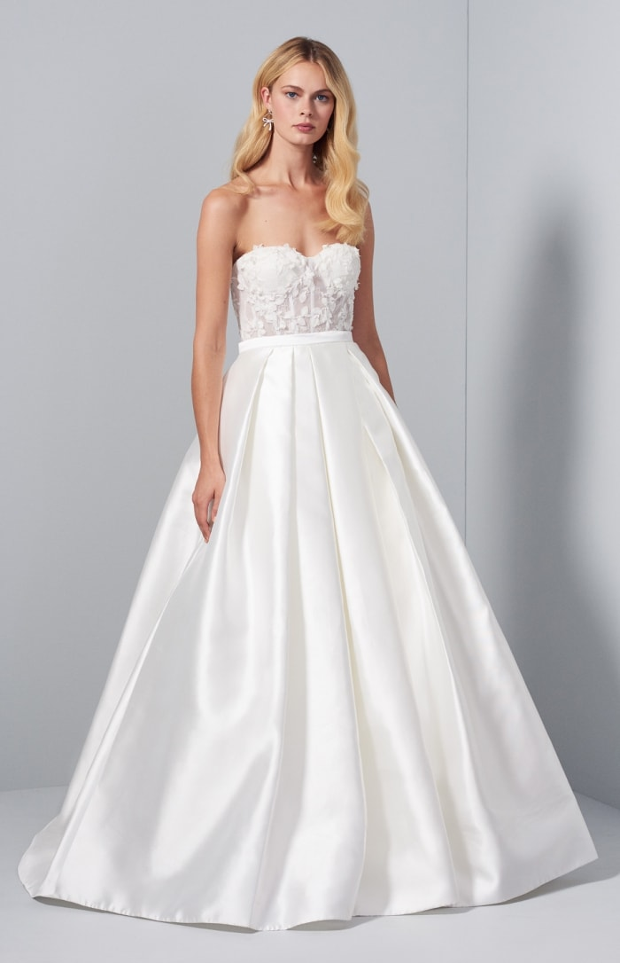 Short feather wedding dress with overskirt