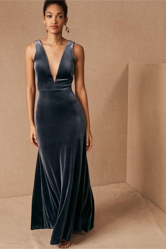 V neck blue velvet dress