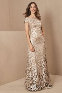 gold lace neutral mother of the bride dress