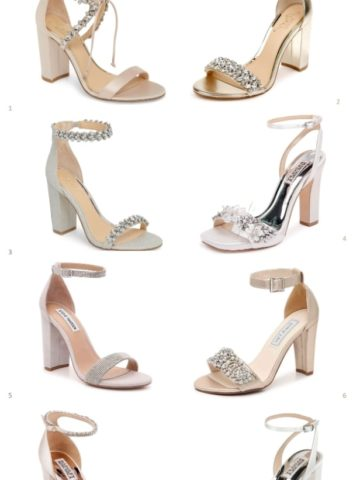 Wedding sandals with block heels