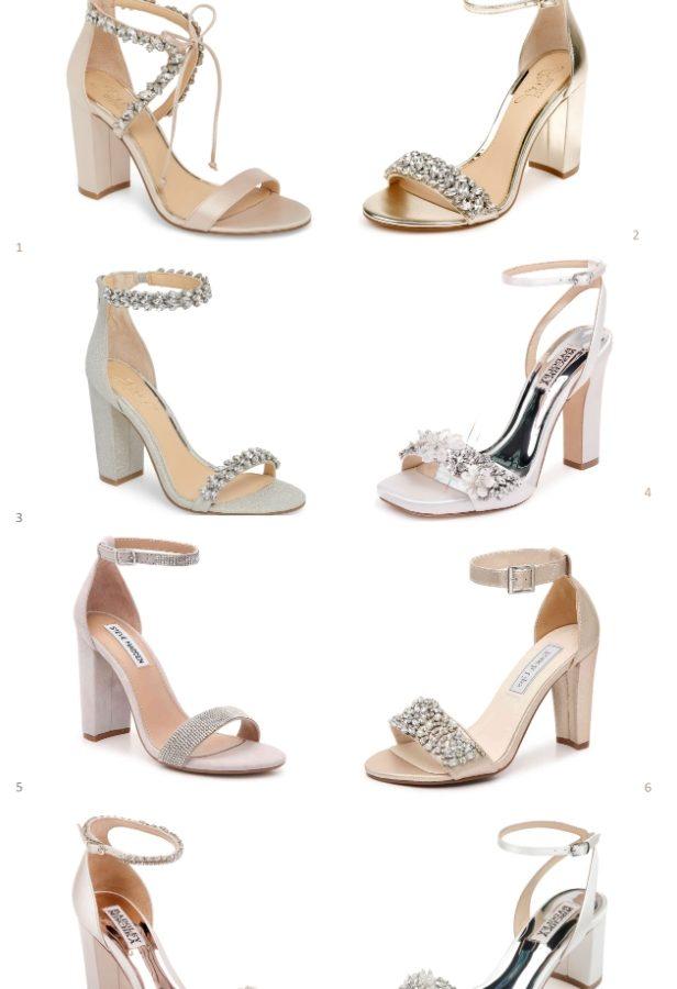 Wedding sandals with block heels