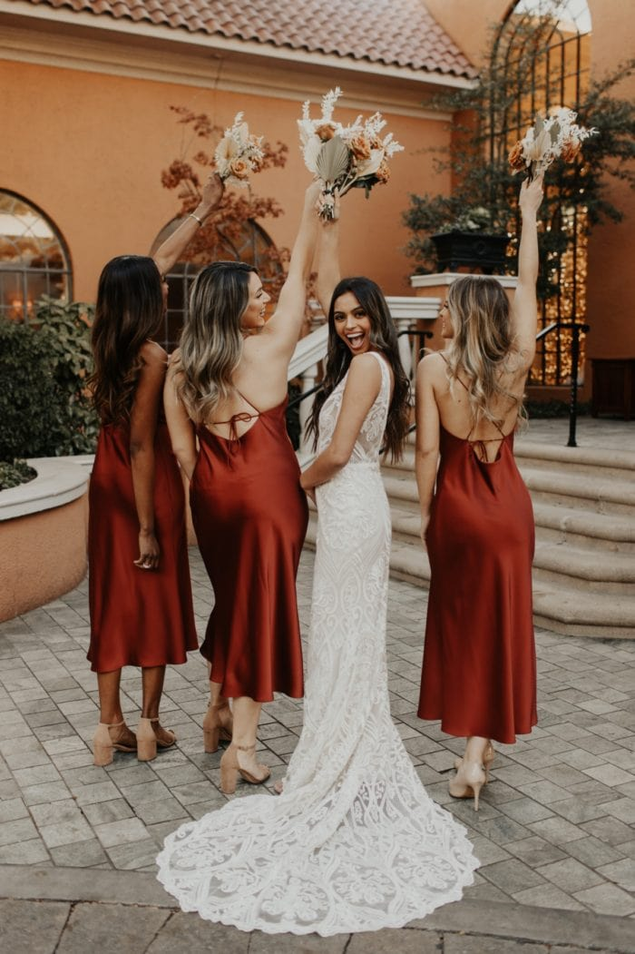Auburn Satin Lovely Bride and Dessy Bridesmaid Dresses Spring 2020