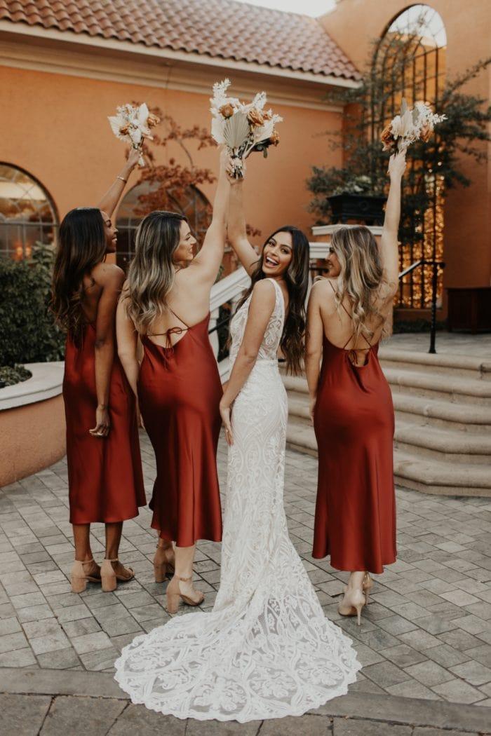 Satin Midi Bridesmaid Dresses