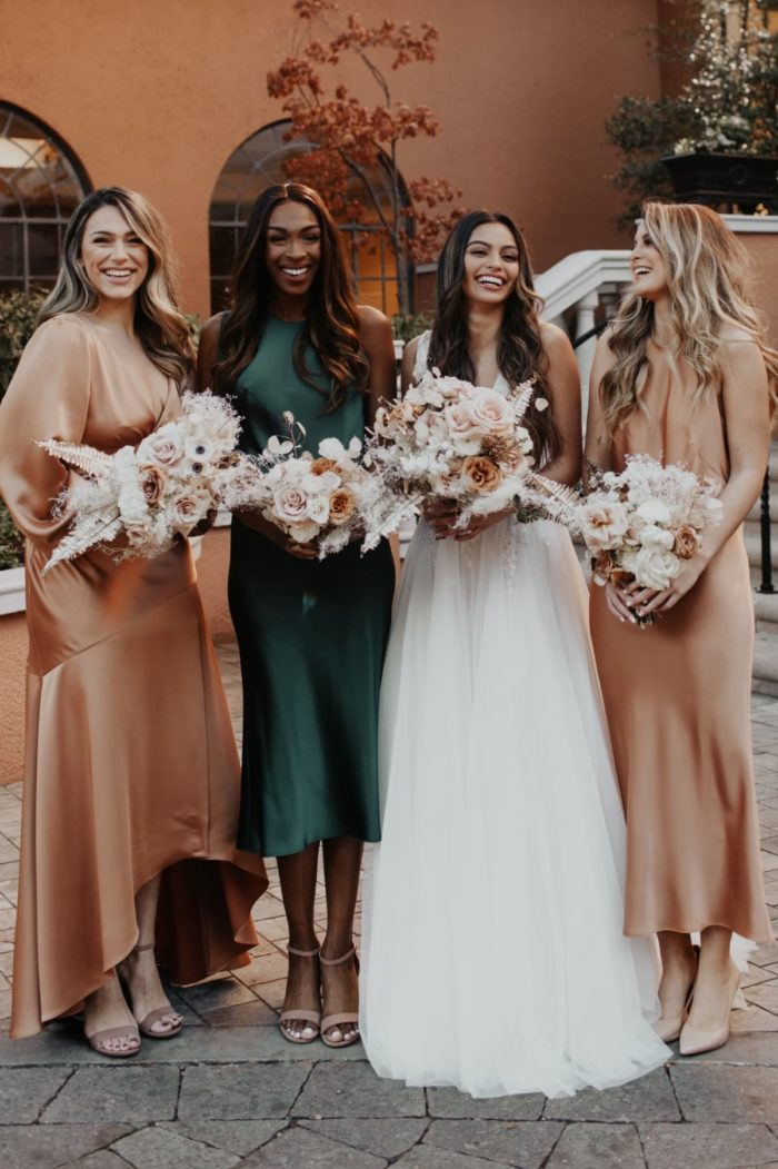 Satin dresses for bridesmaids
