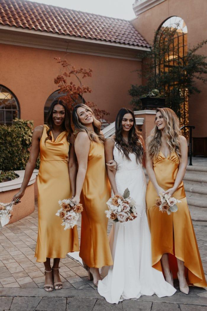 Yellow Gold Satin bridesmaid dresses