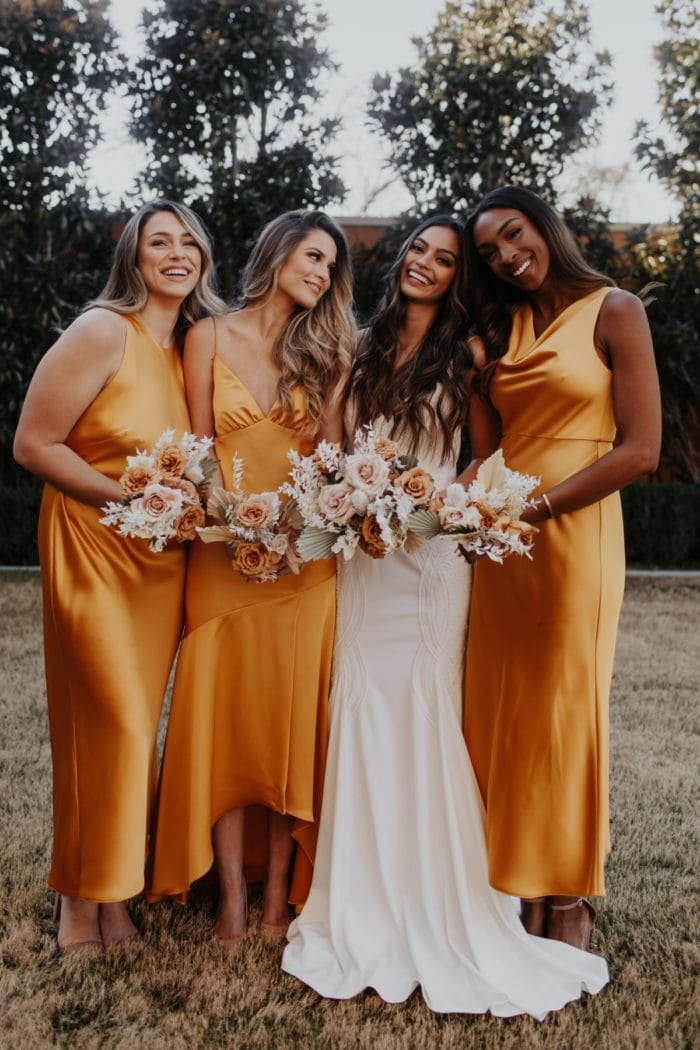 Gold Satin Lovely Bridesmaids Dresses