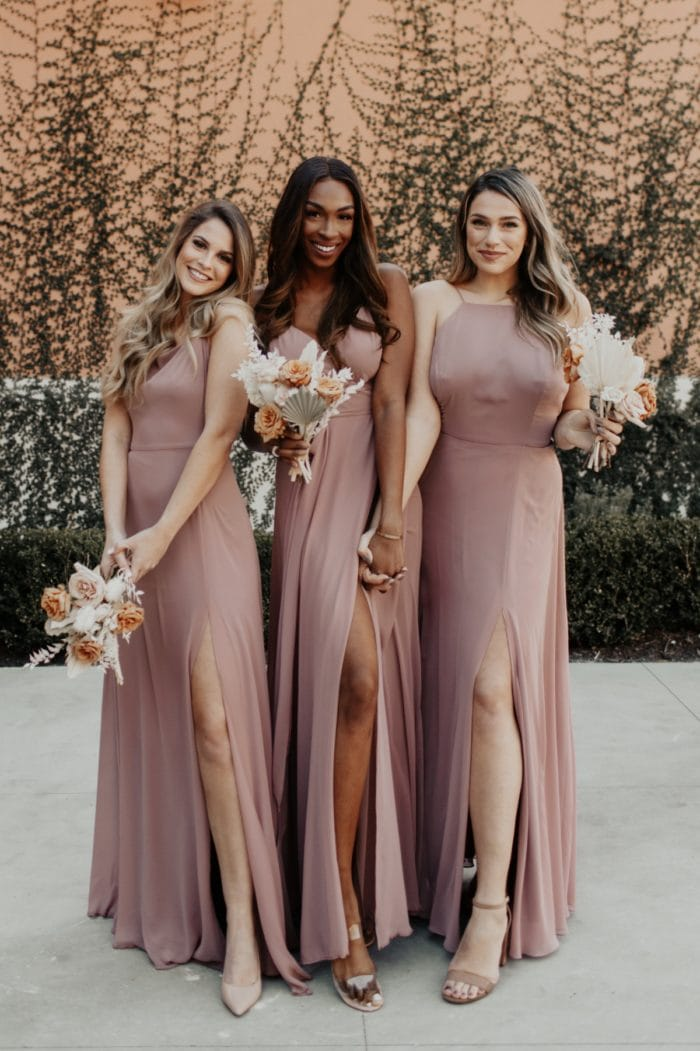 Mauve boho style bridesmaid dresses