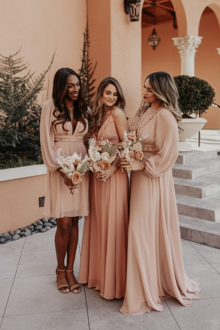 Peachy boho bridesmaid dresses Dessy and Lovely Bride