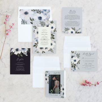 Invitations with Anemone Wedding Invitation in Light Blue Gray