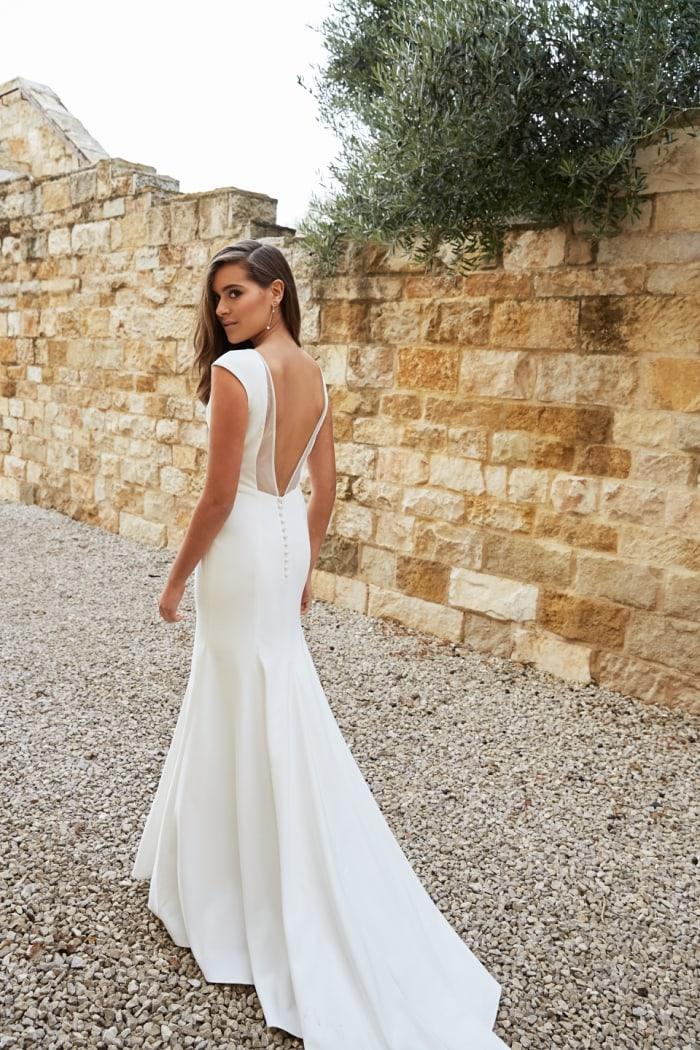 Open back wedding dress with cap sleeve
