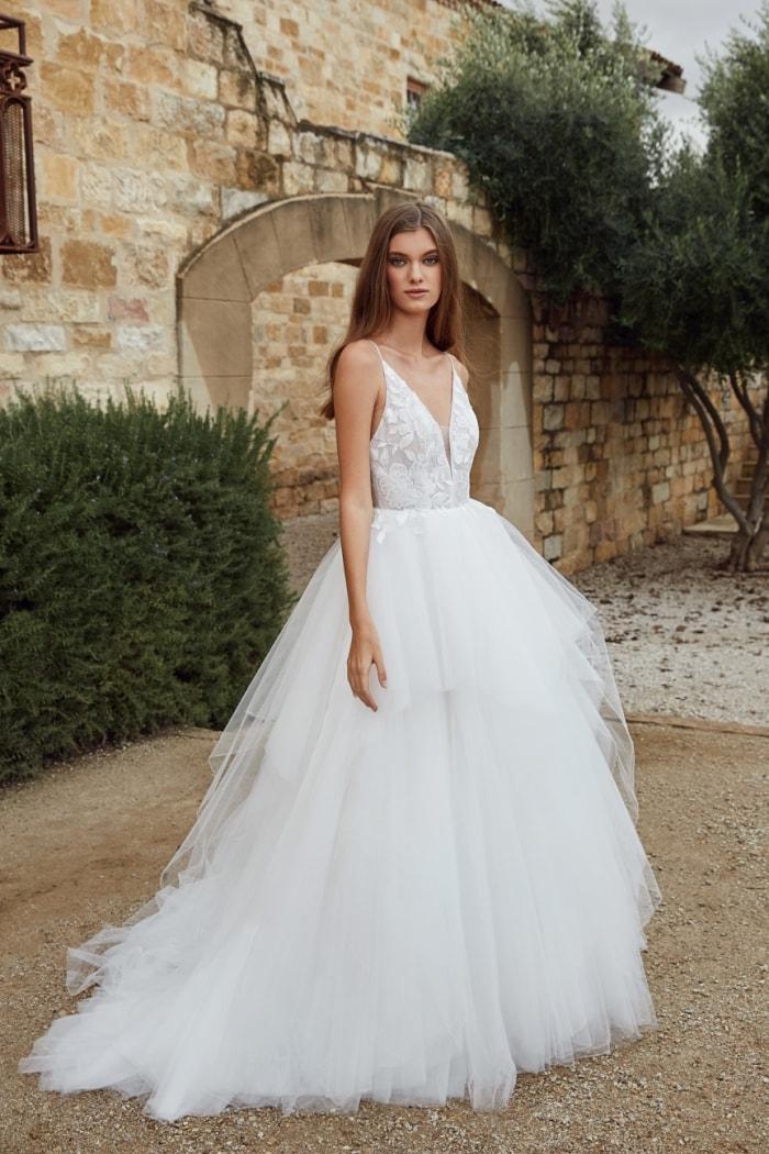 Tiered ballgown wedding dress