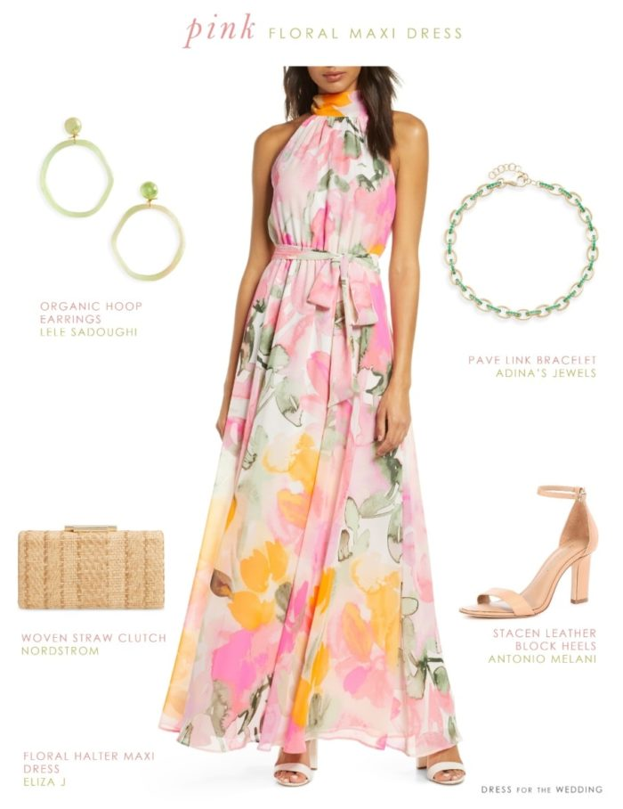 Pink and green and yellow floral print maxi dress for spring 2020