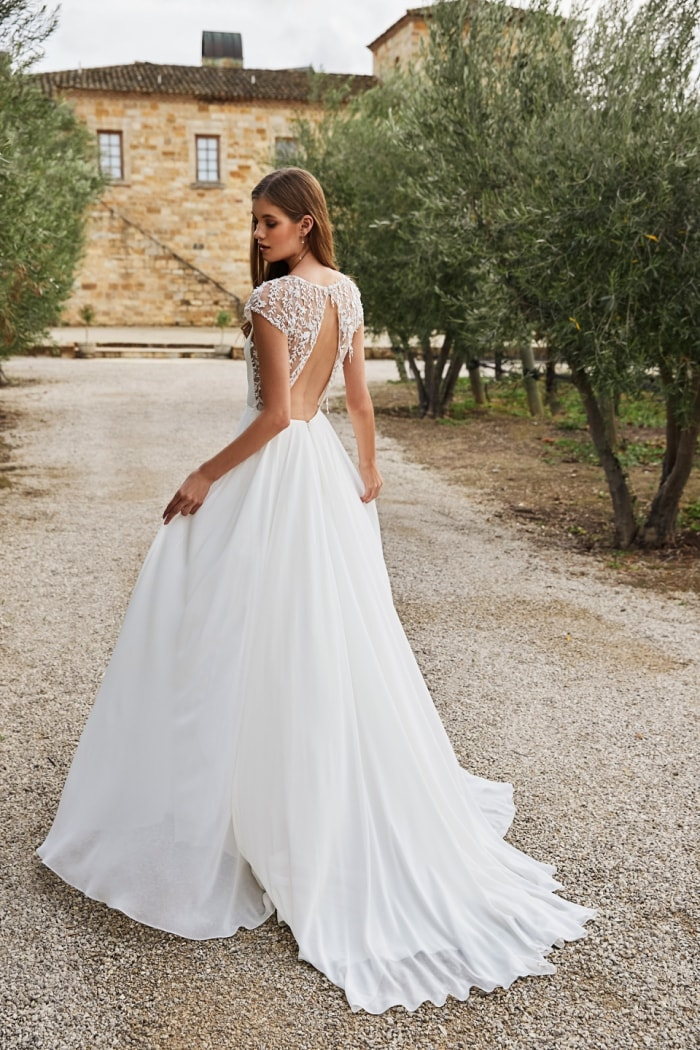 Lace cap sleeve and back bridal gown