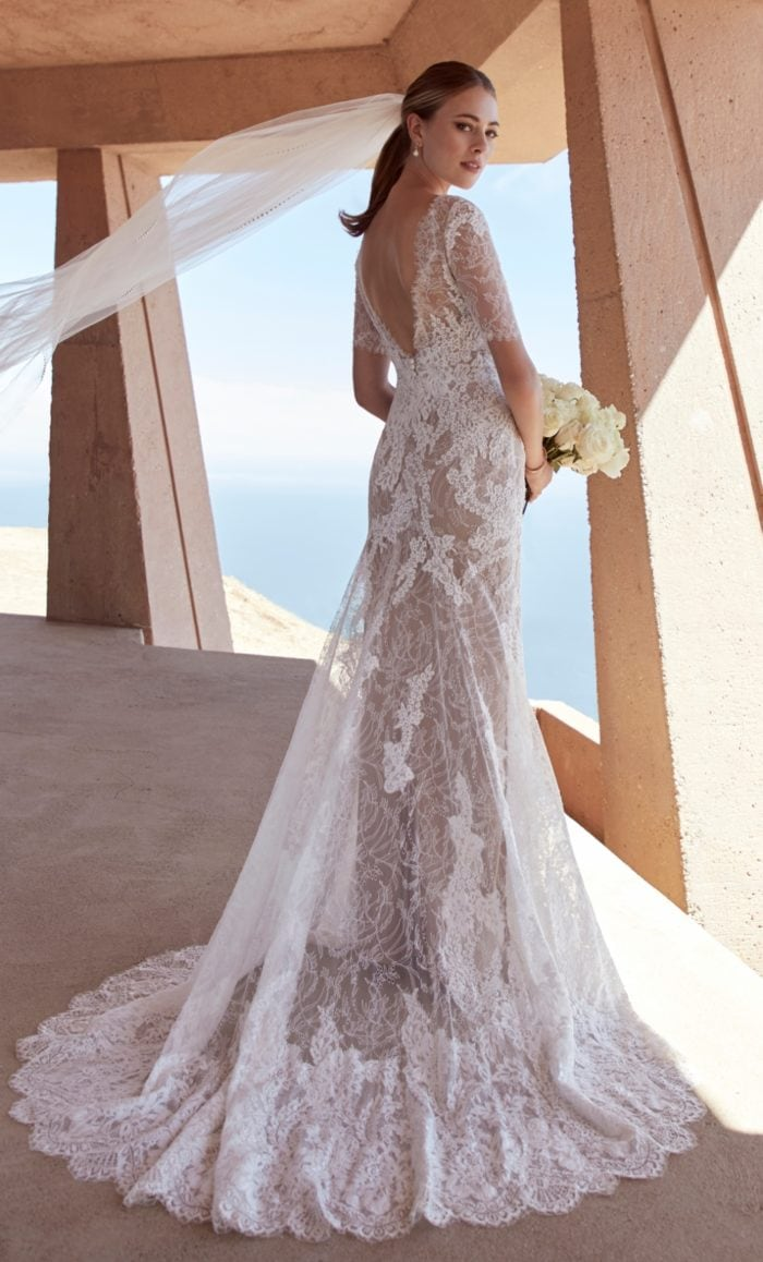 V back lace bridal gown