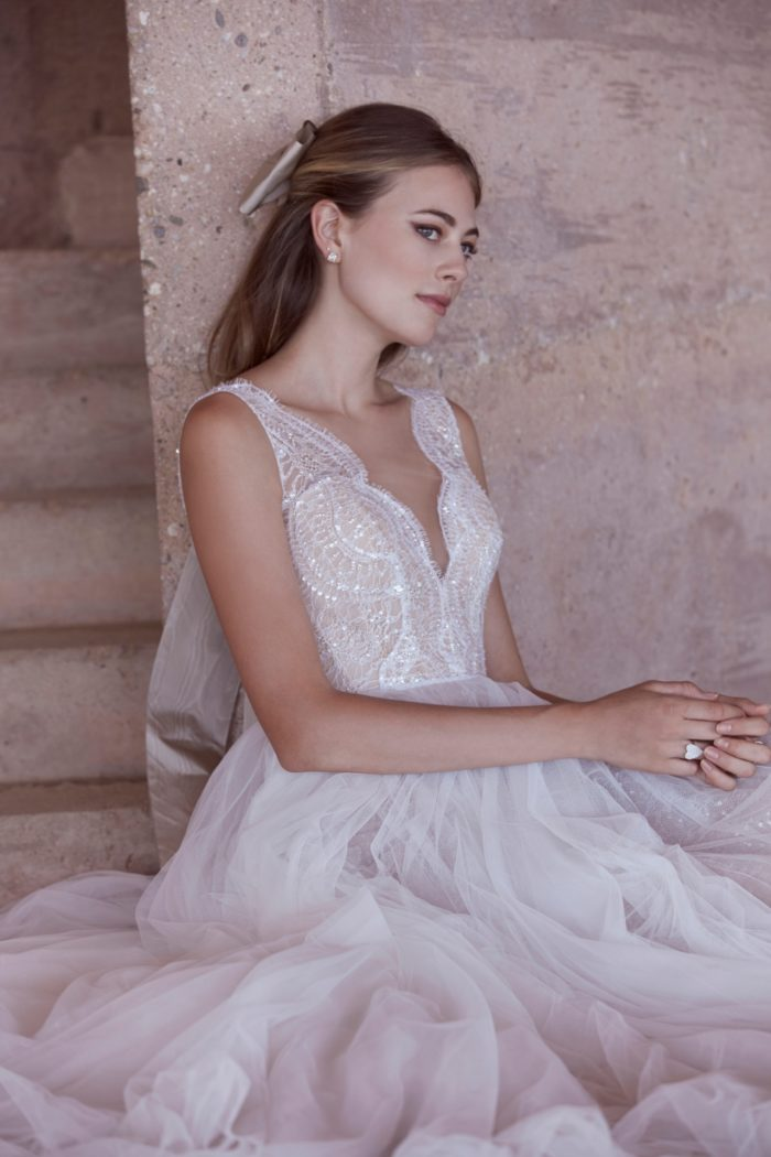 Lace bodice A line Wedding Dress with Plunge Neckline