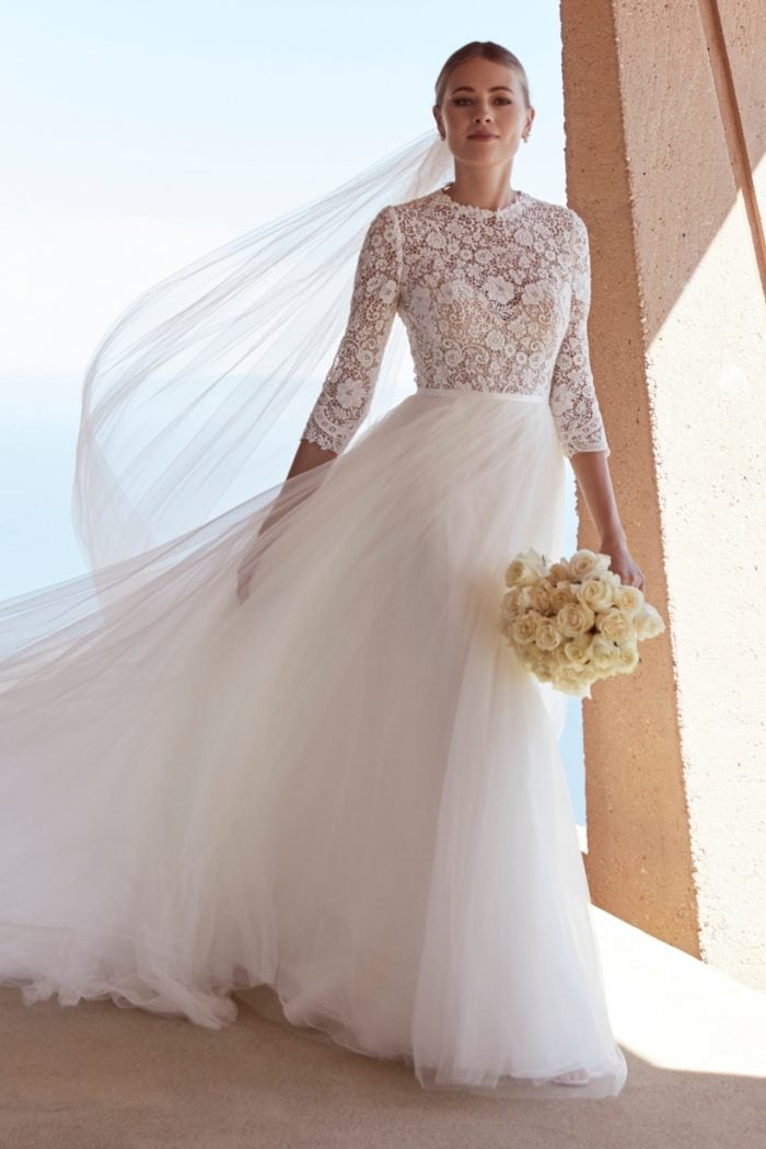 Long sleeve lace bodice wedding dress Watters Spring 2020