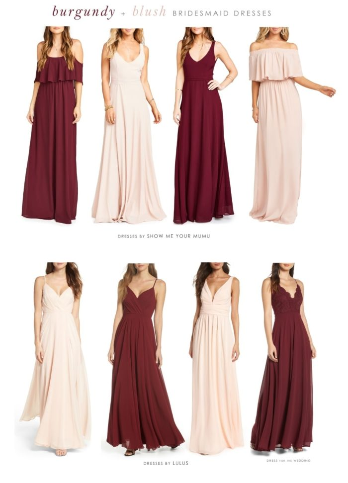 Mismatched Burgundy and Blush Bridesmaid Dresses