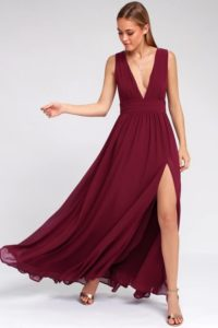 Burgundy maxi dress with plunging neckline for a wedding