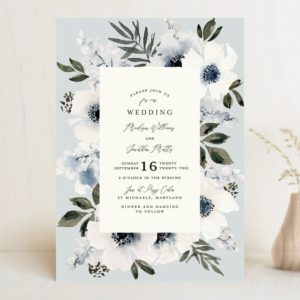 light blue floral wedding invitation