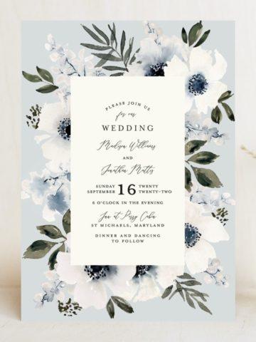 light blue floral wedding invitation