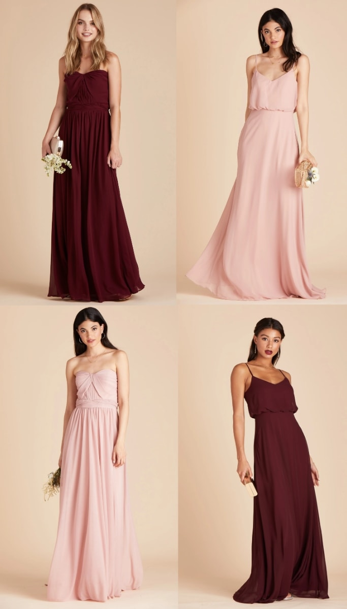 rose and red bridesmaid dresses