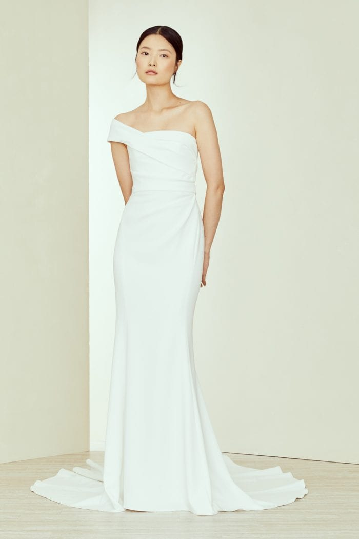 Modern Amsale Designer One Shoulder Wedding Dress