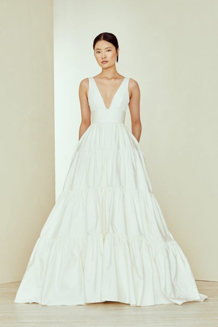 Gathered tiered ballgown bridal gown
