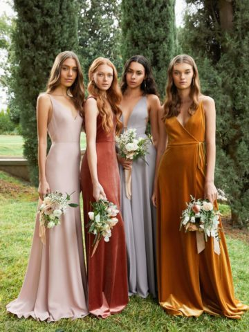 Mix and match multicolor bridesmaid dresses