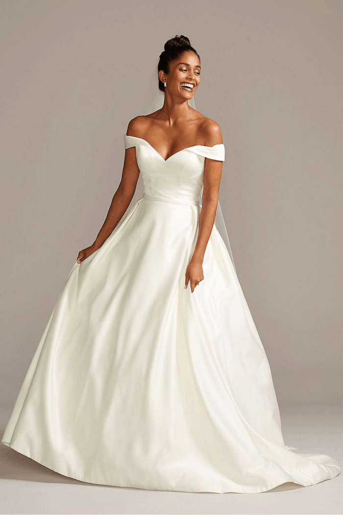 Off the shoulder ball gown wedding dress online