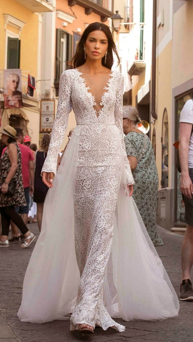 V neck lace bridal gown with overskirt Berta Privee