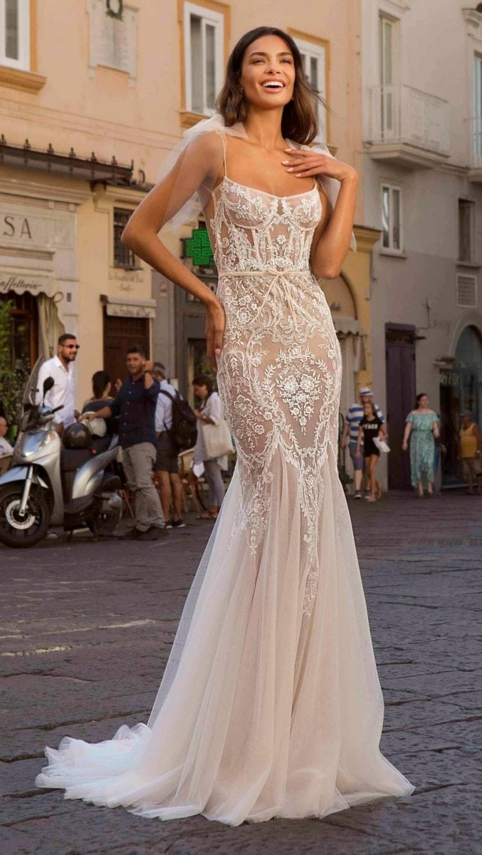 BERTA Privee Bridal Gown with Sheer lace spaghetti straps