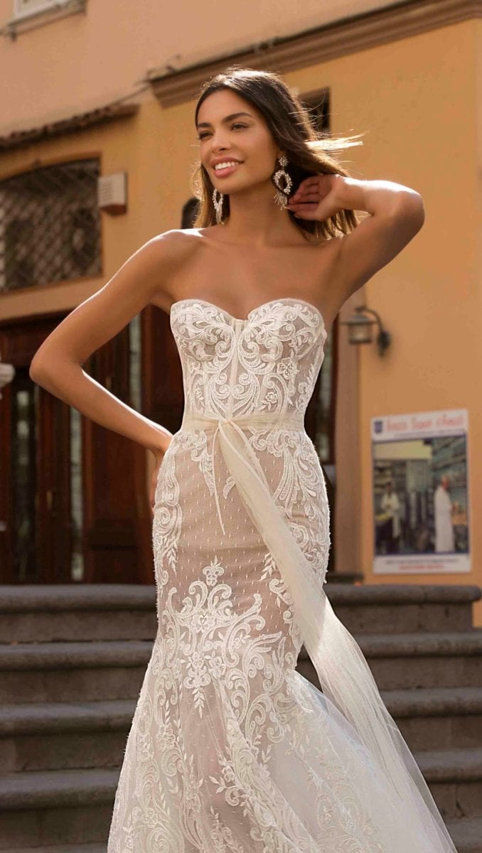 Strapless sheer lace wedding dress Berta Privee