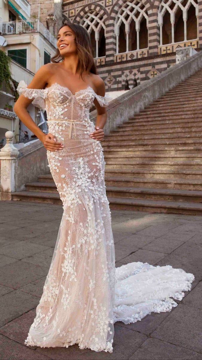 Off the shoulder lace bridal gown