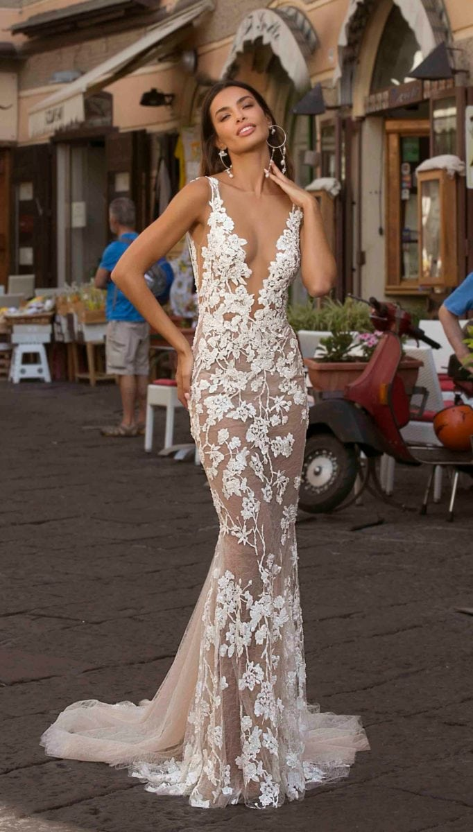 Sheer lace fitted V neck bridal gown