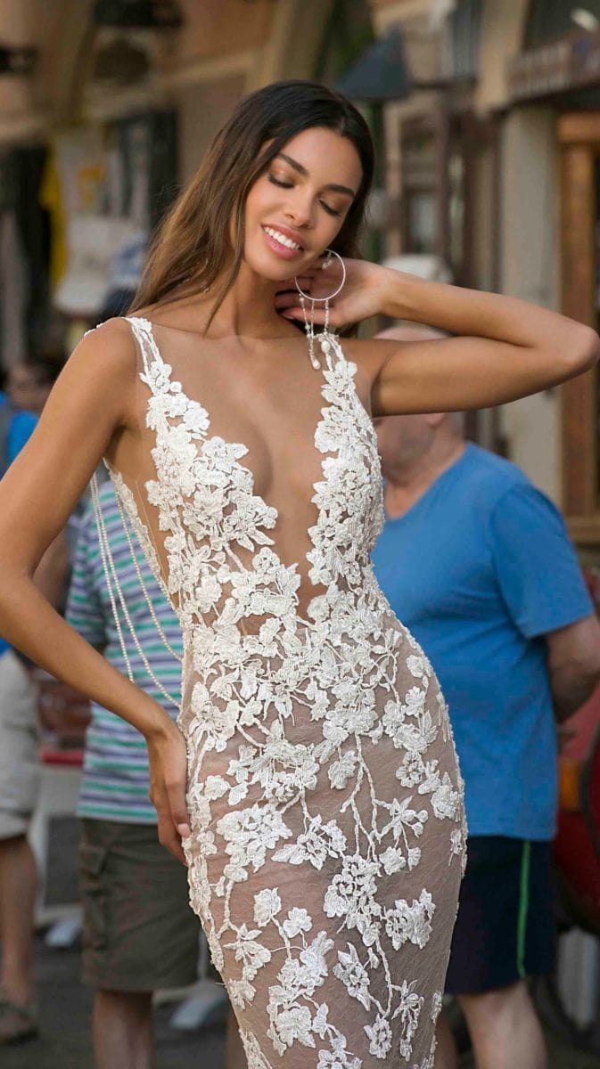 Sexy sheer lace plunge deep v neck lace bridal gown