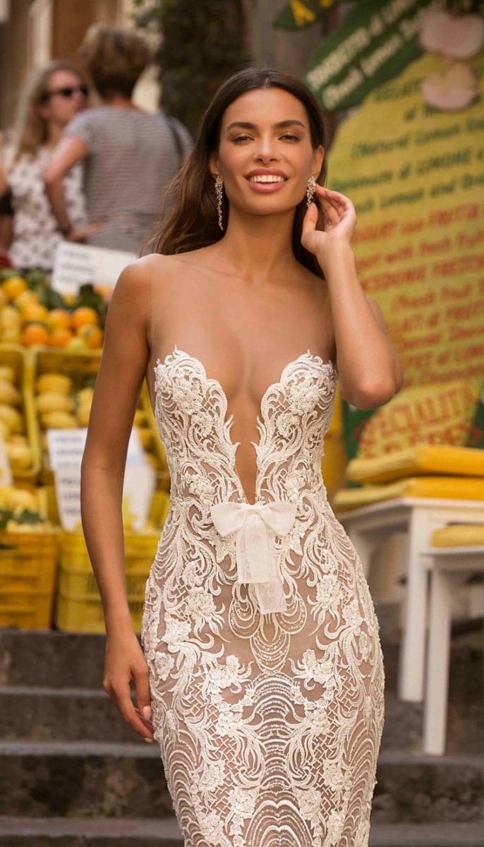 Low cut lace bridal gown