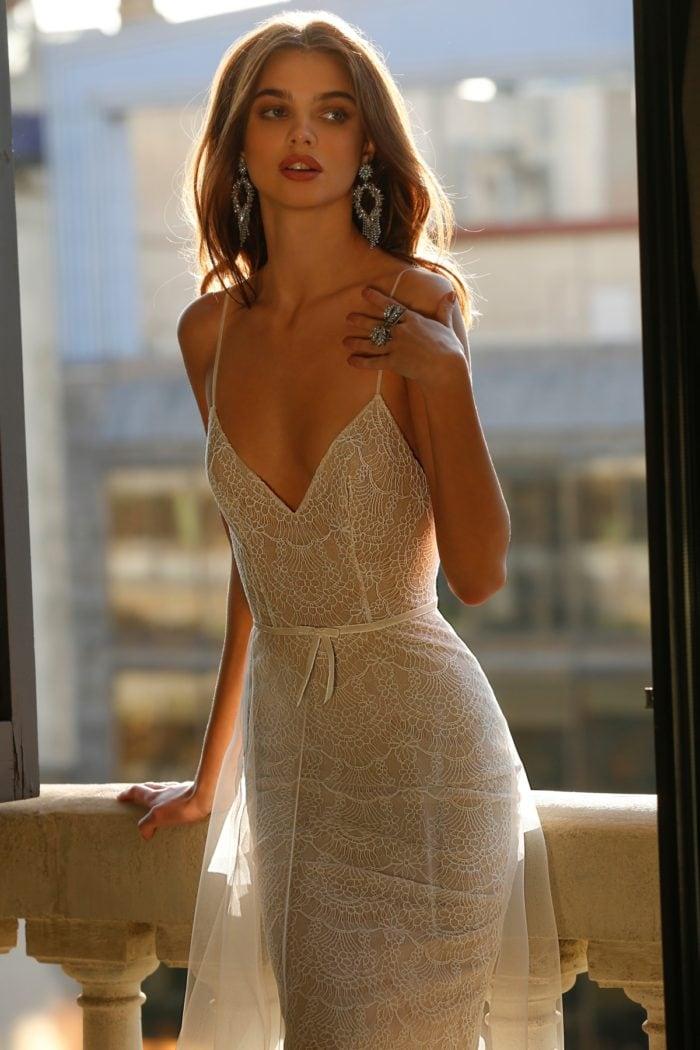 Spaghetti strap bridal gown jolie bridal
