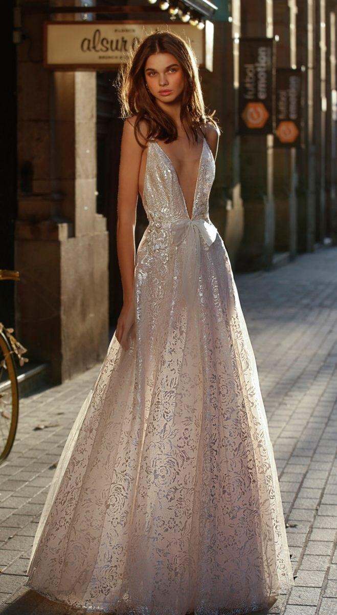 Spaghetti strap with deep v neckJolie by Berta Affordable Designer Wedding Dresses