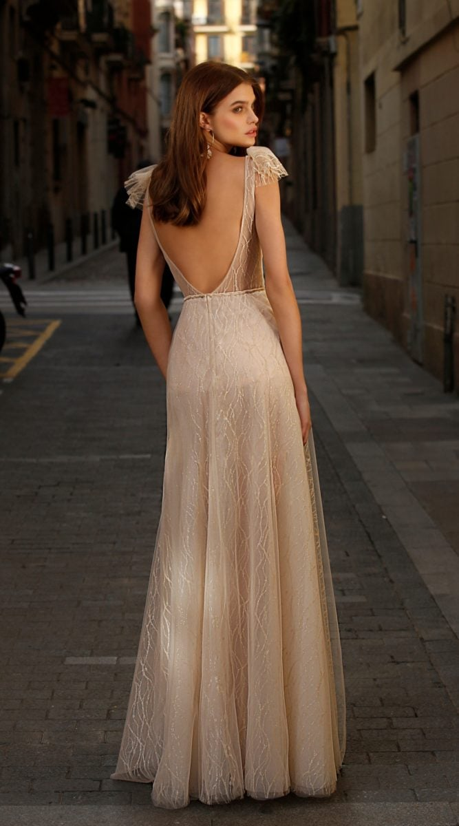Blush Beaded Open Back Gown Jolie Bridal