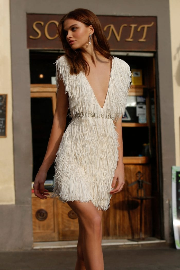 jolie bridal Fringe dress